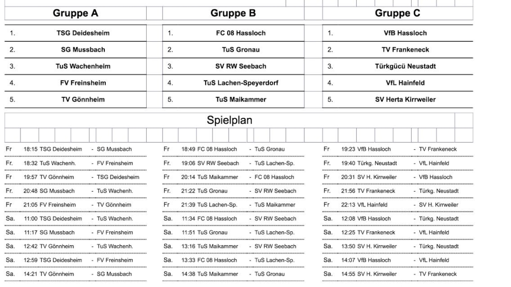RHEINPFALZ-Cup Spielplan