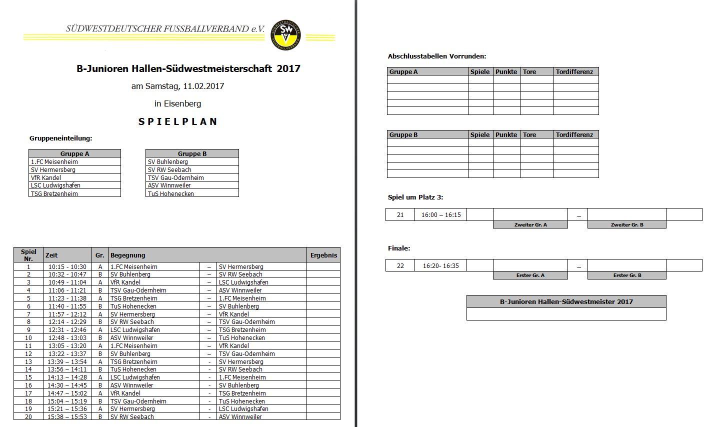 Spielplan B-Jugend Futsal Verbandsmeisterschaft 2007
